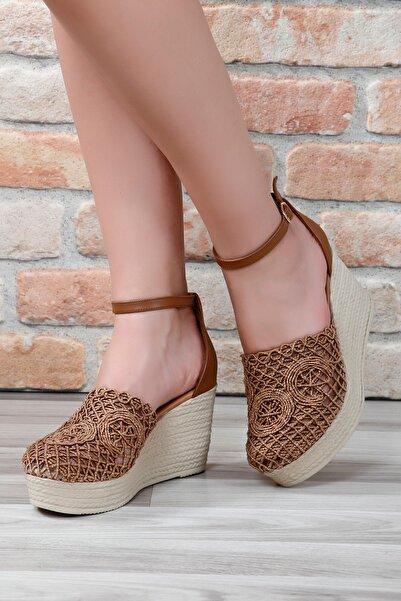 G.Ö.N Kadın Kahverengi Hasır Dolgu Ayakkabı 38913