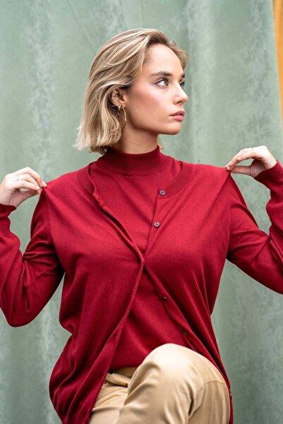 Silk and Cashmere Kadın Kırmızı Edelina Modal Ve Pamuklu Yuvarlak Yaka Hırka