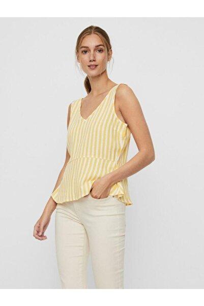 Vero Moda Kadın Sarı Düğme Detaylı Çizgili Keten Karışımlı Kolsuz Bluz 10226439 VMHELENMILO