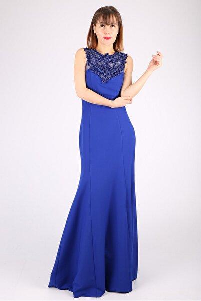 Günay Kadın Saks Mavisi Boncuk Detaylı Abiye Elbise Tn7810