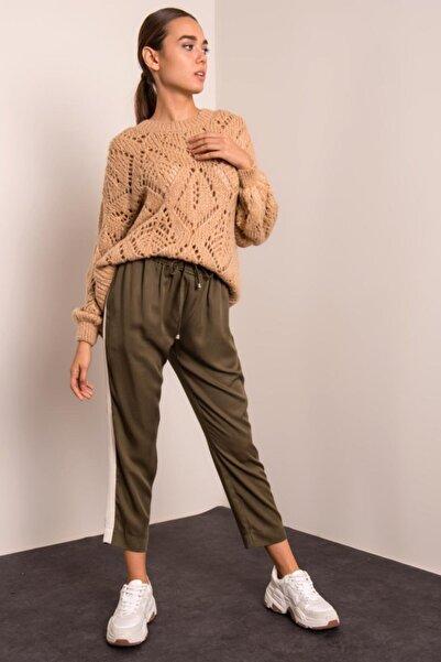 BSL Kadın Haki Bel Lastikli Pantolon