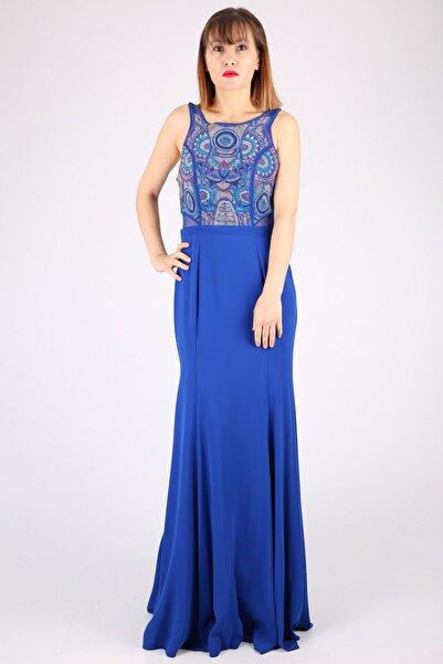 Günay Kadın Lacivert Askılı Abiye Elbise Tn7705
