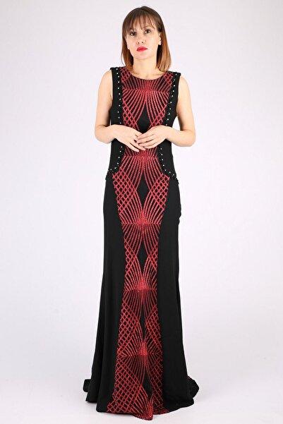 Günay Kadın Siyah Askılı Abiye Elbise