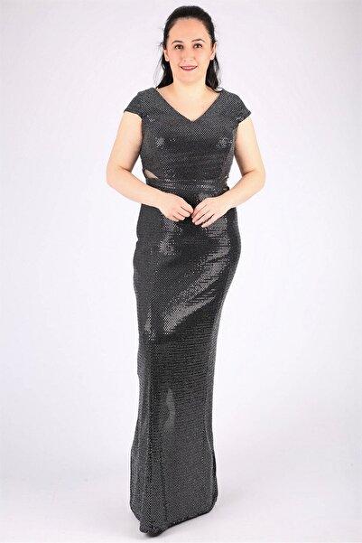 Günay Kadın Siyah Payet Abiye Elbise Qsrt9106