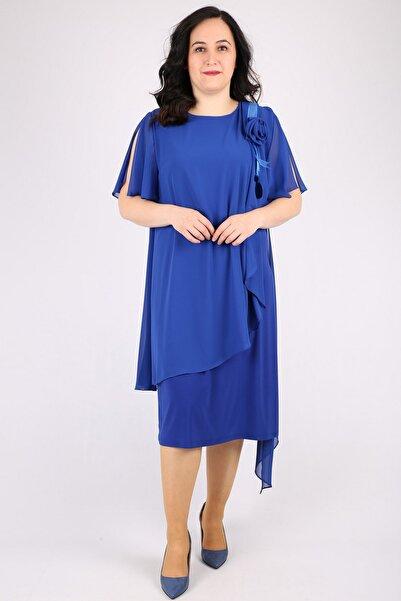 Günay Kadın Lacivert Kısa Abiye Elbise Spl3081
