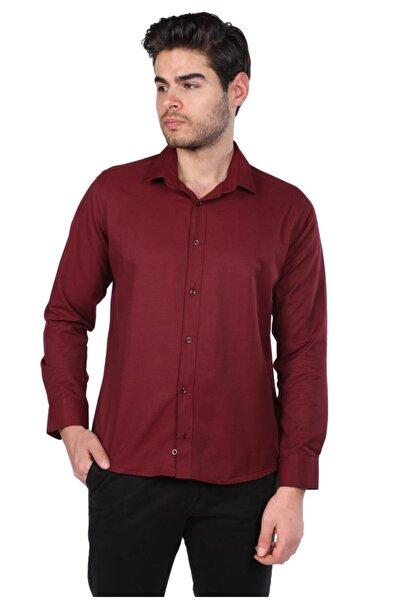 Phazz Brand Erkek Bordo Düz Gömlek