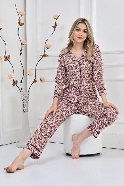 FREZYA Kadın Desenli Önden Düğmeli Uzun Kollu 4 Mevsim Pijama Takımı