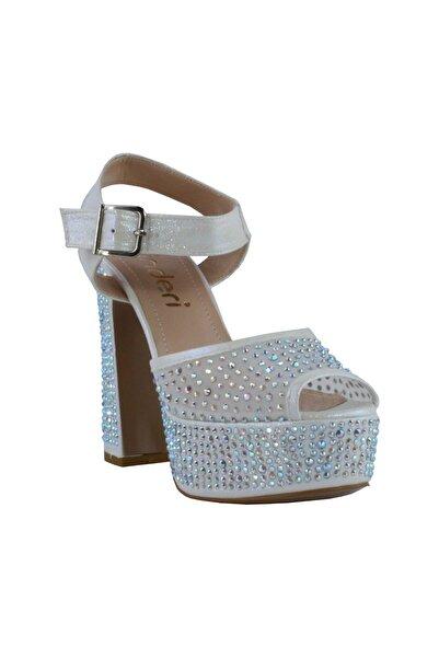 inderi Kadın Gri Exclusive Taşlı Transparan Topuklu Ayakkabı