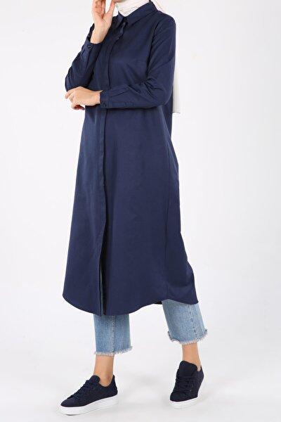 ALLDAY Kadın Lacivert Pamuklu Uzun Gömlek