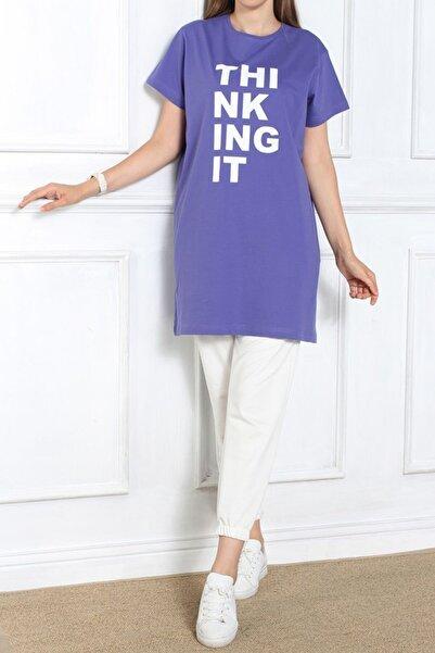 Ekrumoda Kadın Mor Kısa Kol Baskılı T-shirt