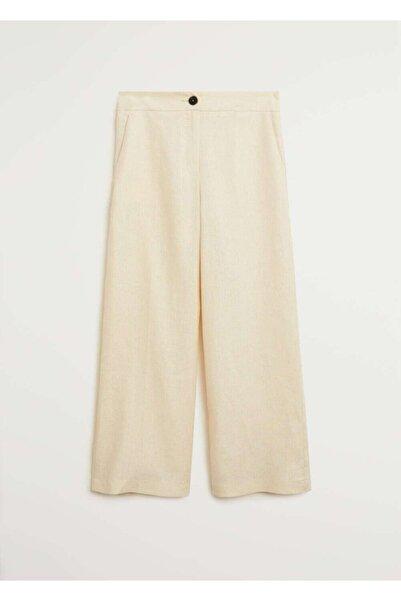 MANGO Woman Kadın Ekrü Keten Takım Pantolon 77084390