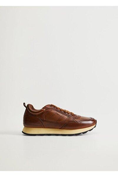 MANGO Man Erkek kahverengi Bağcıklı Deri Spor Ayakkabı