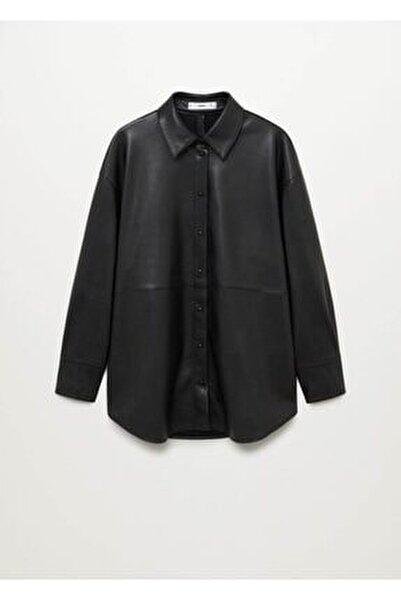 Kadın Siyah Suni Deri Gömlek
