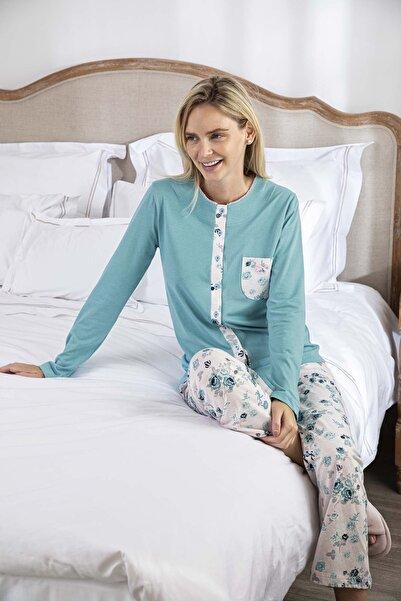 Bellis Kadın Turkuaz Önde Düğmeli Cepli Modal Pijama Takımı