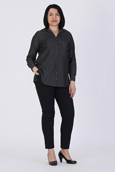 Günay Giyim Kadın Gri Battal Gömlek