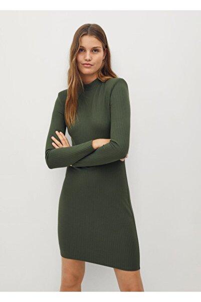MANGO Woman Kadın Yeşil Uzun Kol Elbise