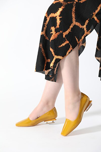 ALTINAYAK Kadın  Sarı Şeffaf Topuk Kare Kalıp Babet