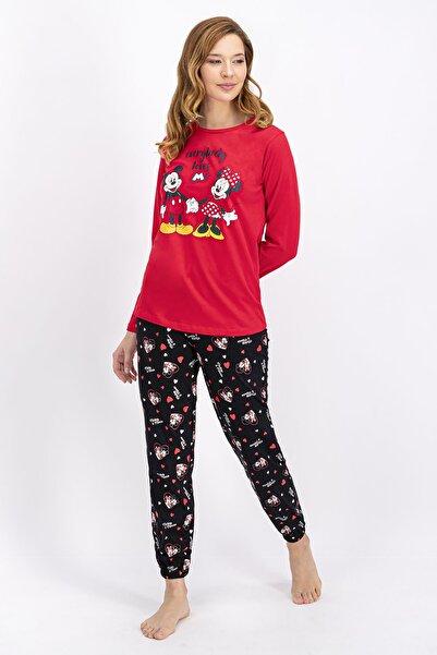 Minnie Mouse Lisanslı Açık Kırmızı Kadın Pijama Takımı