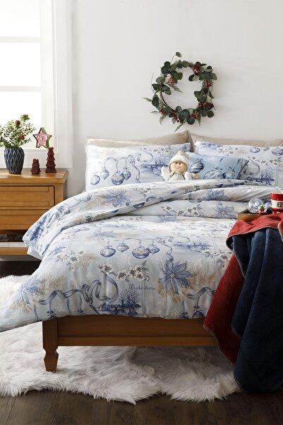 English Home Wintertime Pamuk Çift Kişilik Nevresim Takımı 200x220 Cm Mavi