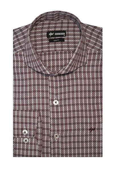 İgs Erkek Bordo Slim Fit İtalyan Yaka Gömlek