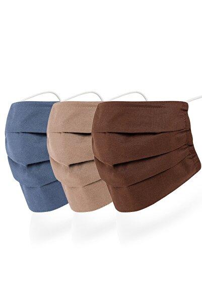 Mutlu Maske 3 Katlı Lacivert Kahverengi Renkli Yıkanabilir Kumaş Pamuklu Bez Maske 3'lü Set