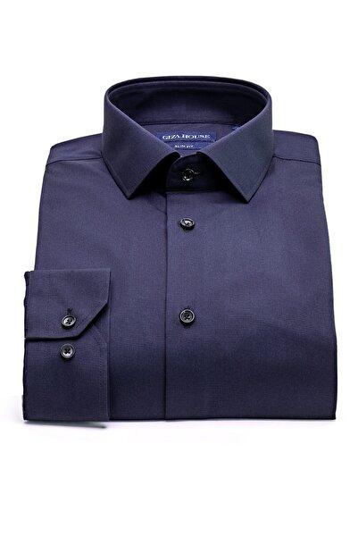 GIZA HOUSE Erkek Lacivert Slim Fit Lüks Pamuklu Premium Gömlek Albany