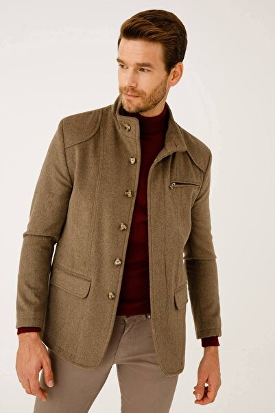 İgs Erkek Bej Modern Fit Palto
