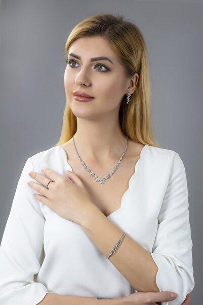 BARIŞ TAKI Kadın 925 Ayar Gümüş Pırlanta Montür Su Yolu Düğün Seti