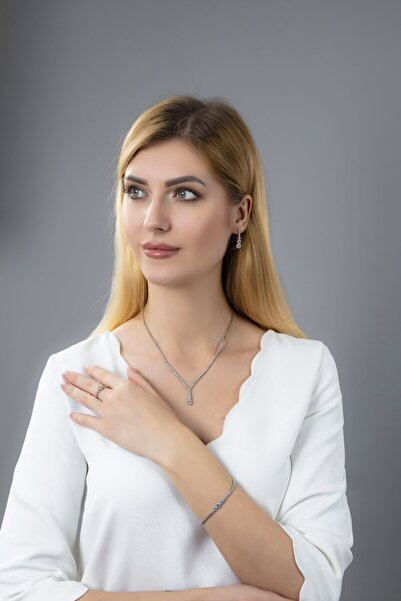 BARIŞ TAKI Kadın 925 Ayar Gümüş Salkım Pırlanta Montür Su Yolu Düğün Seti