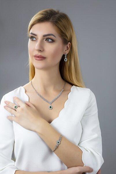BARIŞ TAKI Kadın 925 Ayar Gümüş Hürrem Pırlanta Su Yolu Düğün Set