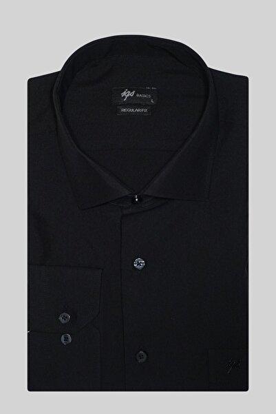 İgs Erkek Siyah Regularfıt Rahat Kalıp 7 Cm Klasik Gömlek