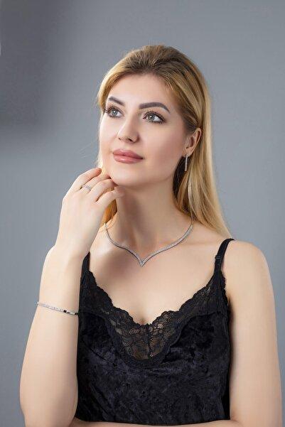 BARIŞ TAKI Kadın 925 Ayar Gümüş 2 Sıra Su Yolu Düğün Set
