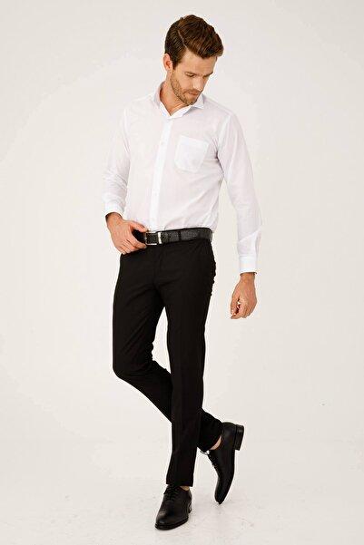 İgs Erkek Siyah Slım Fıt Dar Kalıp Std Pantolon