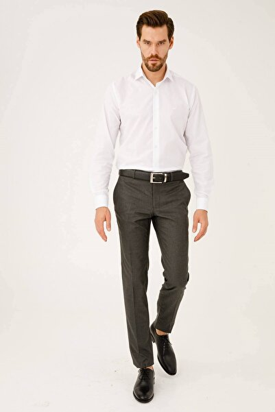 İgs Erkek Gri Füme Slım Fıt Dar Kalıp Std Pantolon
