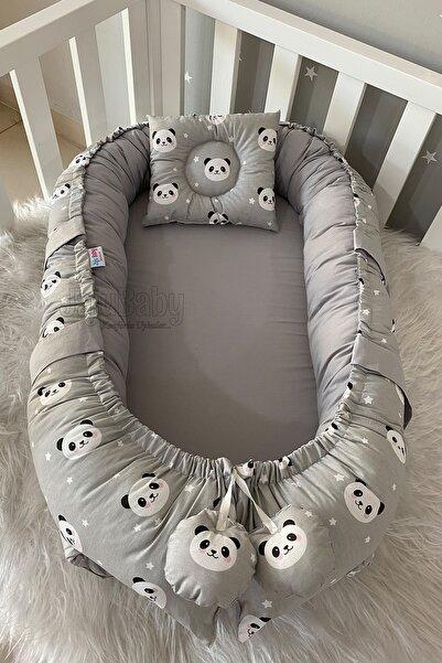 Jaju Baby Gri Panda Lüx Tasarım Ortopedik Babynest