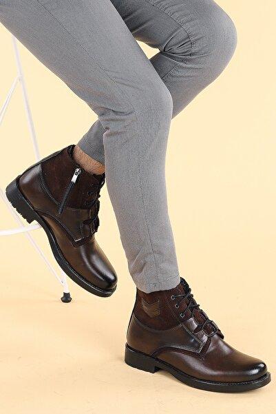 Ayakland Erkek Kahverengi Fermuarlı  Bot Ayakkabı 500