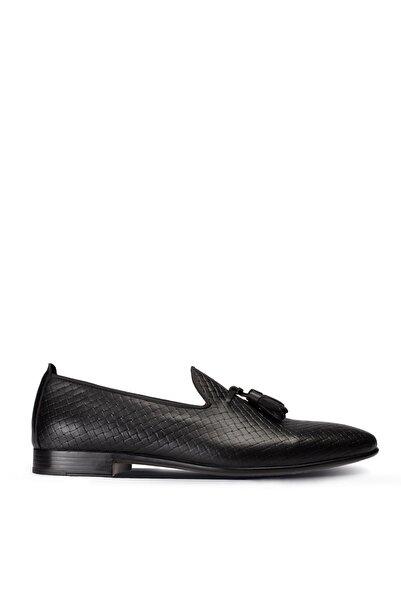 Deery Hakiki Deri Siyah Püsküllü Erkek Loafer