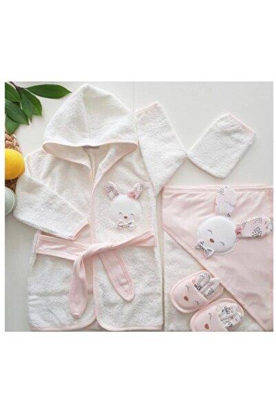 Gaye Bebe Kız Yeni Doğan Pembe Kabartma Sevimli Tavsan Nakıslı Havlu Bornoz Set