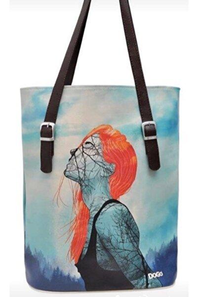 Dogo Kadın Beyaz Teemood Water Color Sulu Boya Desen Omuz Çantası