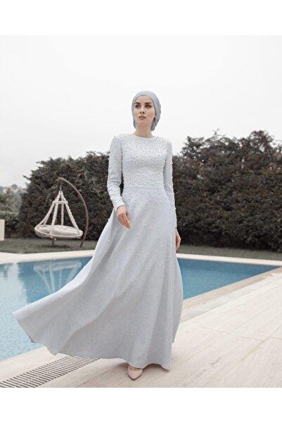 Tuay Karaca Kadın Buz Mavisi İncili Jakarlı Abiye
