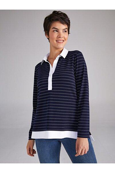 Faik Sönmez Kadın Lacivert Renk Çizgili Gömlek Yaka Uzun Kol T-shirt