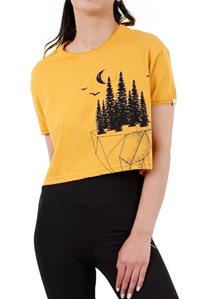 4EST Kadın Sarı Yeryüzü Özel Tasarım Kısa Tshirt