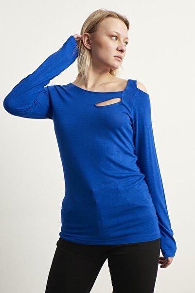 ELBİSENN Kadın Lacivert Omuz Dekolteli Tasarım Bluz