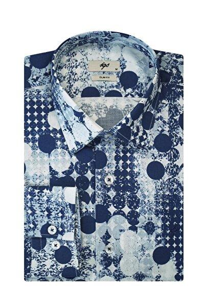İgs Erkek Mavi Slim Fit Düğmeli Yaka Gömlek