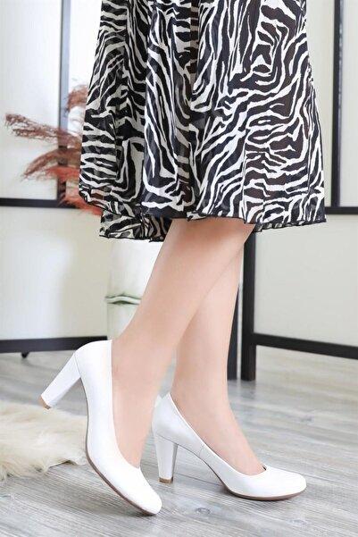 Deripabuc Hakiki Deri Beyaz Kadın Topuklu Ayakkabı DP06-0001