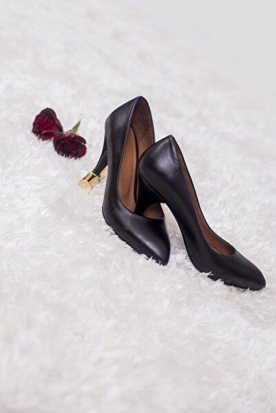 Deripabuc Hakiki Deri Siyah Kadın Topuklu Ayakkabı TRC-0301