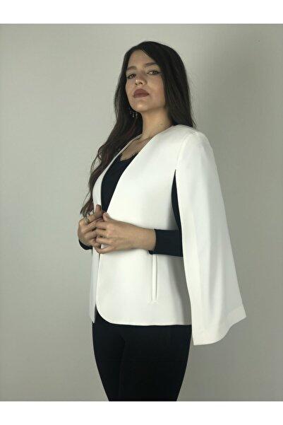AYHAN Kadın Beyaz Yarasa Kol Ceket