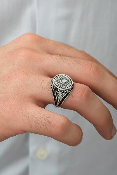 Gümüş Tezgahi Gümüş Hz Süleyman Mührü Yüzük 925 Ayar