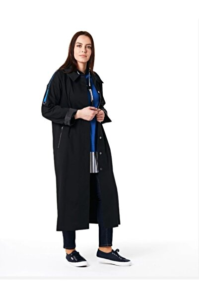 Kayra Kadın Siyah Şerit Trençkot
