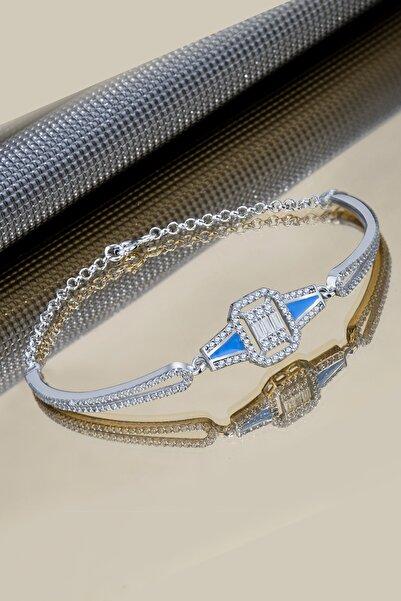 Else Silver Kadın Mavi Mineli Baget Taşlı Doc Gümüş Bileklik